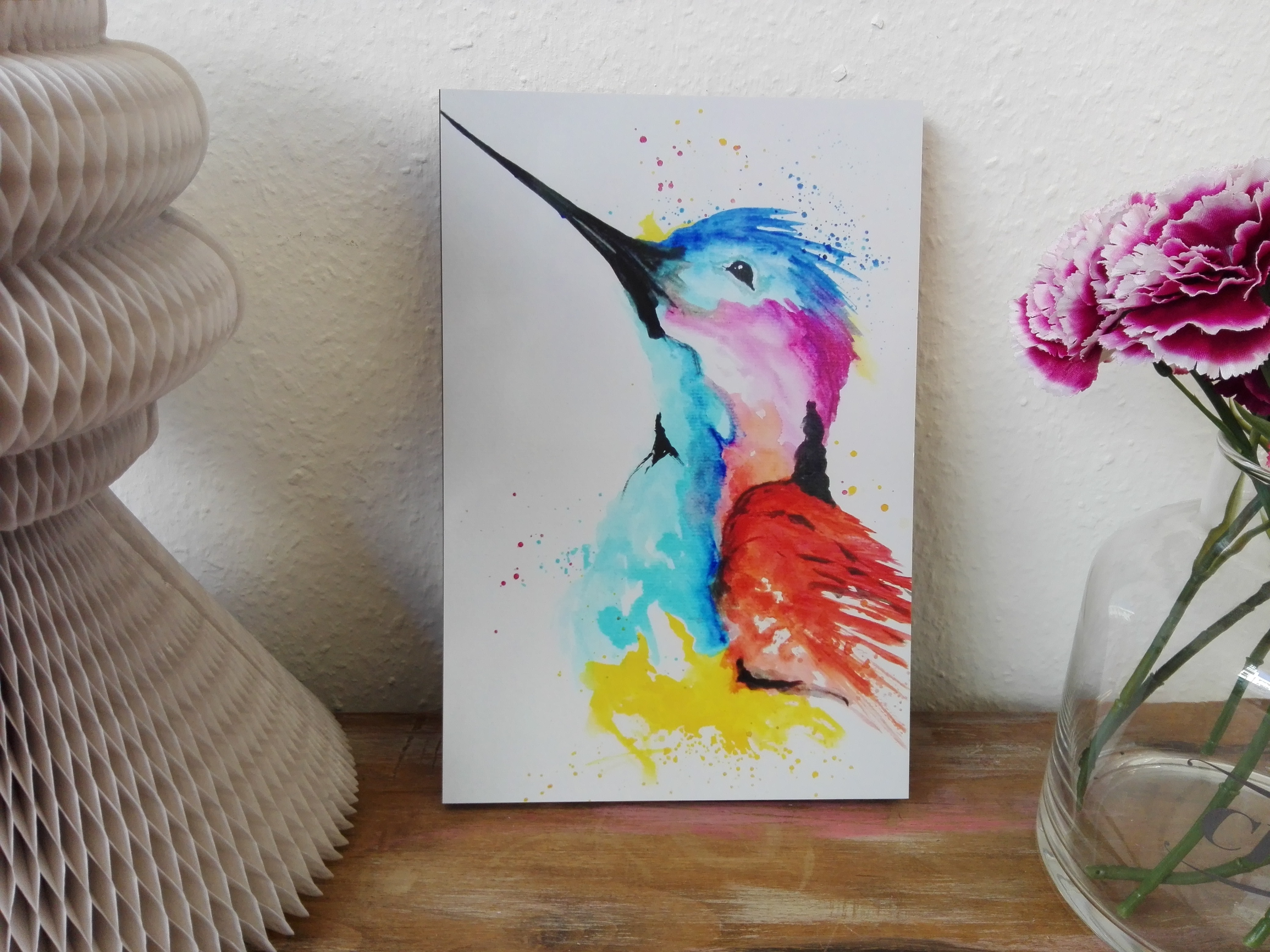 Kolibri bunt gemalt