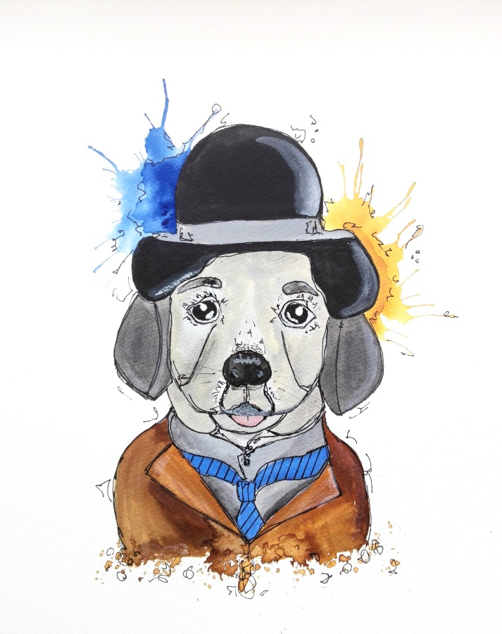 Hund dog aquarell