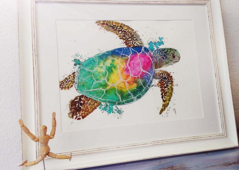 Schildkröte gemalt in bunt