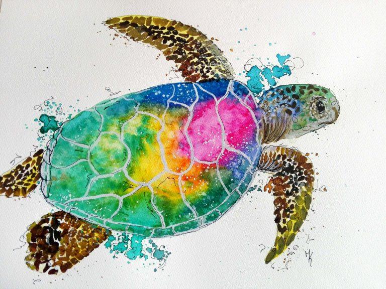 Schildkröte regenbogenfarben gemalt