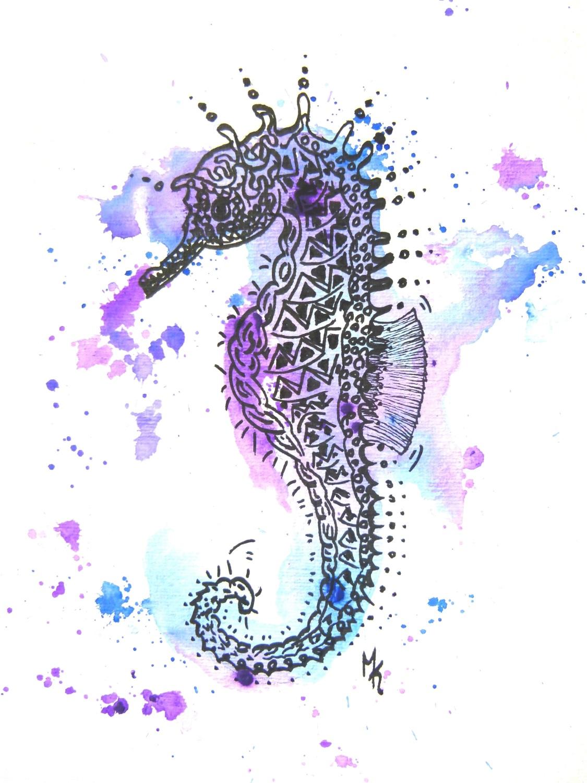 seepferdchen seahorse gemalt aquarell