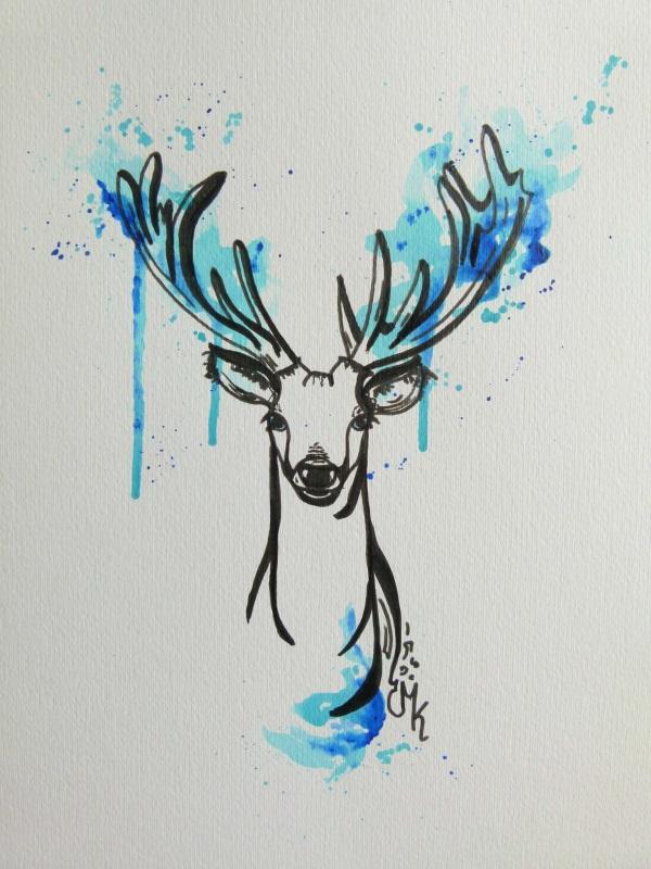 hirsch deer gemalt wandbild stilwald
