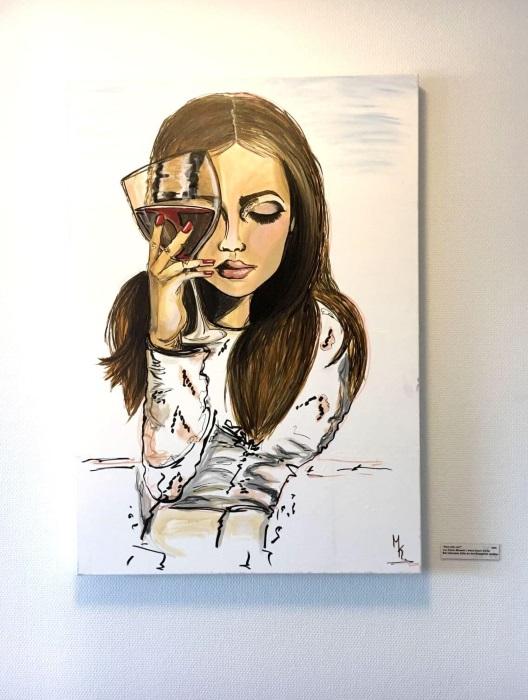 frau trinkt wein gemalt