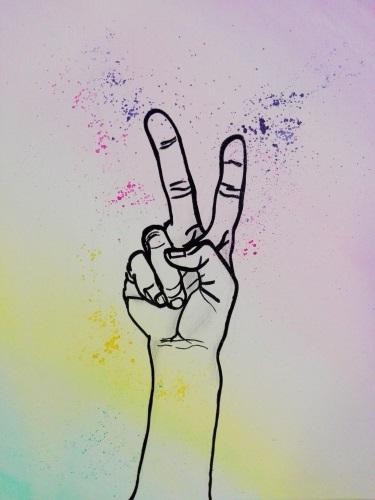 peace hand rainbow