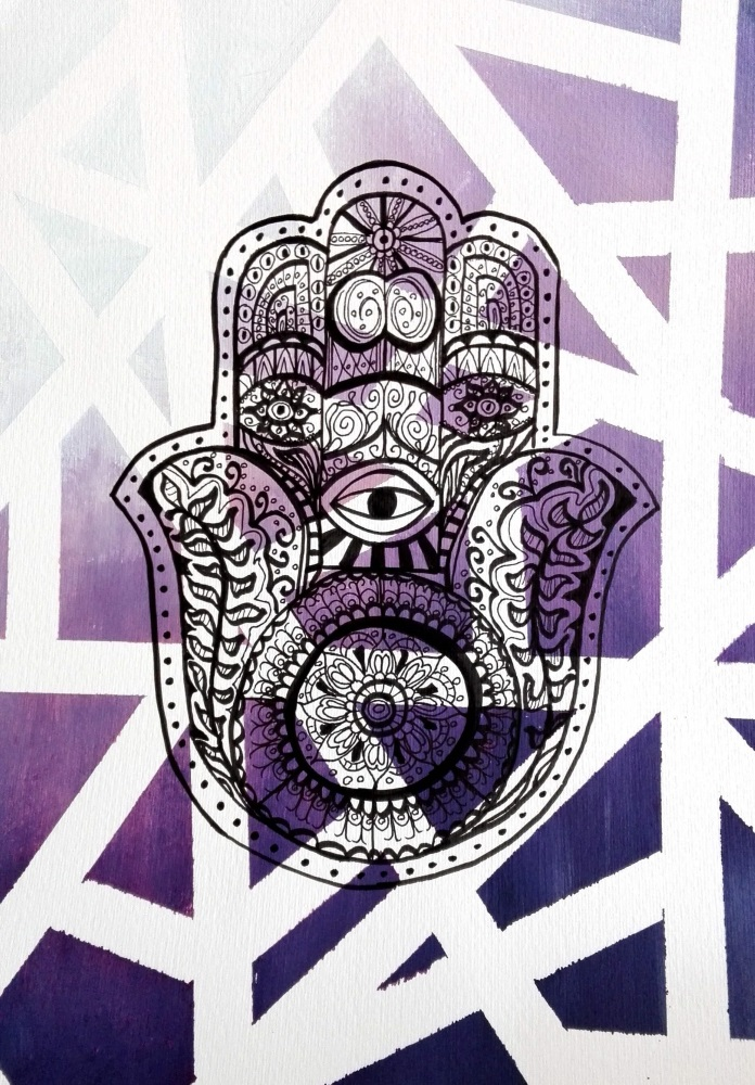 hand der fatima lila gemalt buddha