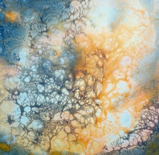 liquid painting cells mixed media