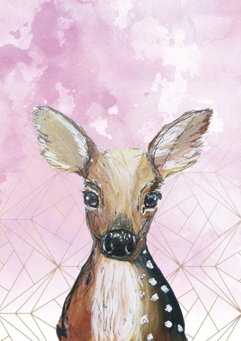 Rehkitz gemalt mit rosa geometrisch goldenem Hintergrund