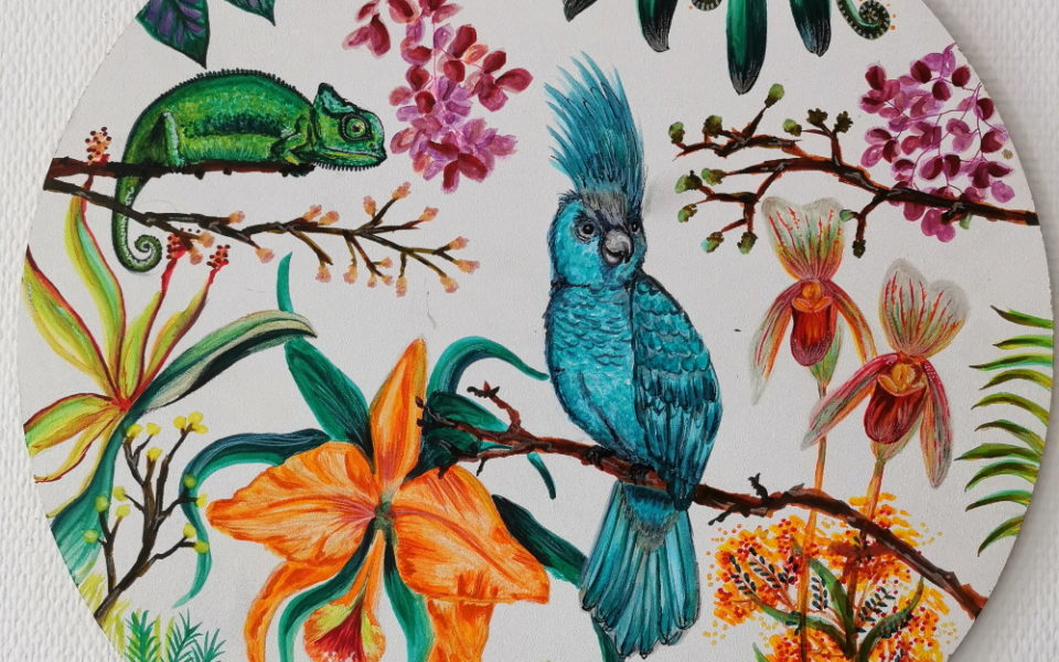 tropical painting paradise plants