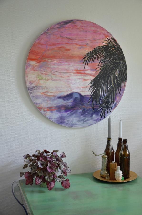 Palme Meer Sonnenuntergang abstrakte Kunst