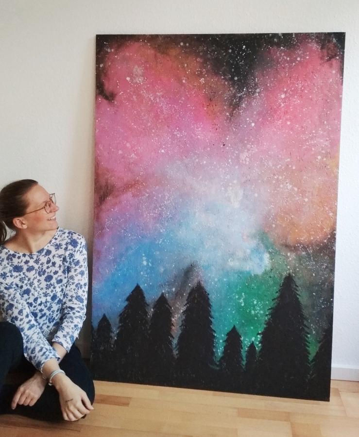 Abstrakte Kunst Galaxie Wald