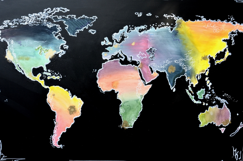 worldmap weltkarte gemalt