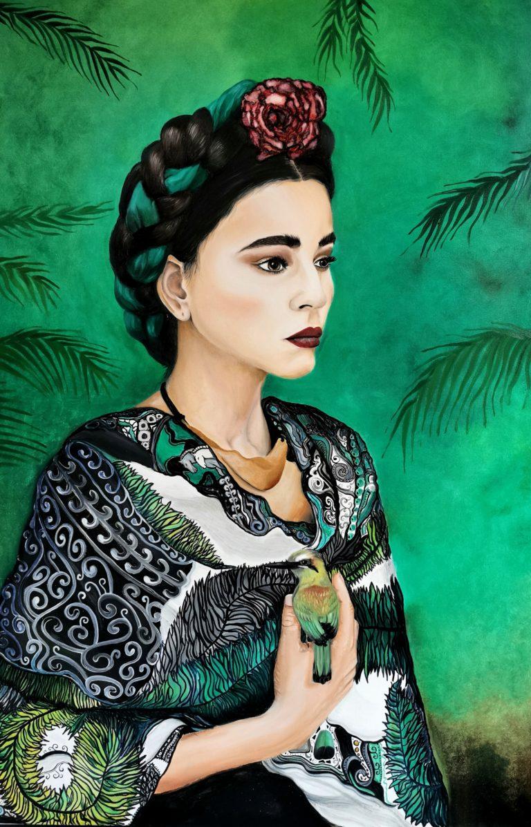 Kunst, Katrin Maiwald, boho, ethno, schöne Frau, grün, Frida Kahlo